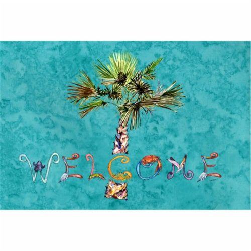 Welcome Palm Tree On Teal Fabric Placemat Perspective: front