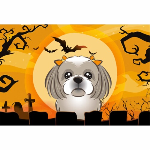 Halloween Gray Silver Shih Tzu Fabric Placemat Perspective: front