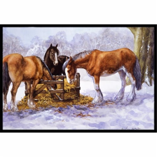 Horses Eating Hay in the Snow Indoor or Outdoor Mat, 24 x 36 Perspective: front