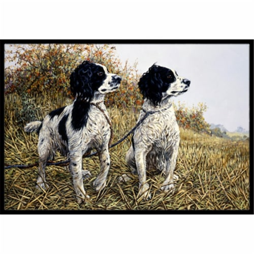 Two Springer Spaniels by Michael Herring Indoor or Outdoor Mat, 18 x 27 Perspective: front