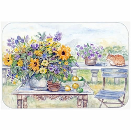 Patio Bouquet of Flowers Glass Cutting Board, Large Perspective: front