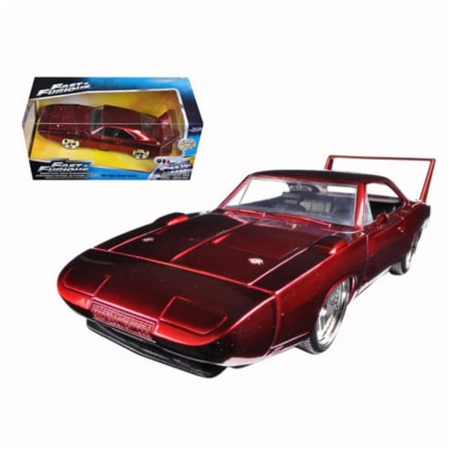1969 Dodge Charger Daytona Red Fast & Furious 7 Movie 1-24 Diecast Model Car Perspective: front