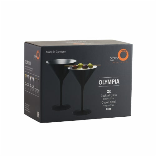 Stolzle Lausitz Olympia Cocktail Glasses - Matte Black/Silver - 2 Pack Perspective: front