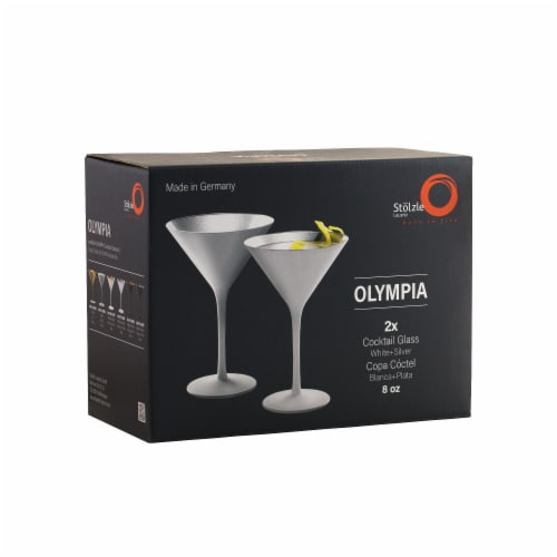 Stolzle Lausitz Olympia Cocktail Glasses - Matte White/Silver - 2 Pack Perspective: front