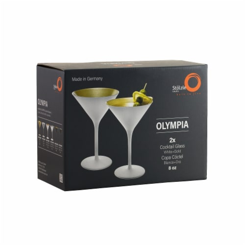 Stolzle Lausitz Olympia Cocktail Glasses - Matte White/Gold - 2 Pack Perspective: front