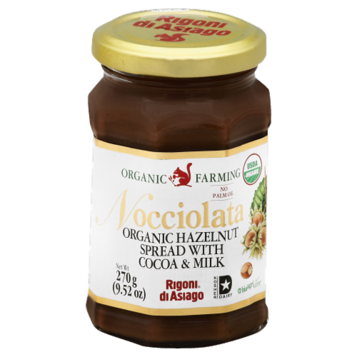 Organic Farming Nocciolata Organic Hazelnut Spread with Cocoa & Milk Perspective: front