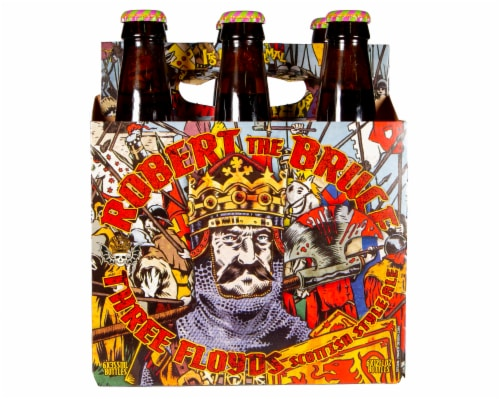 Three Floyds Robert the Bruce Scottish Style Ale 12 oz bottles Perspective: front