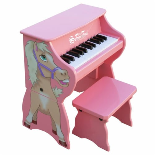 Schoenhut 9258H Pink 25 Key Horse with Bench Perspective: front