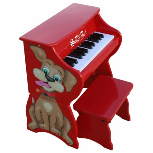 Schoenhut 9258D Red 25 Key Dog with Bench Perspective: front