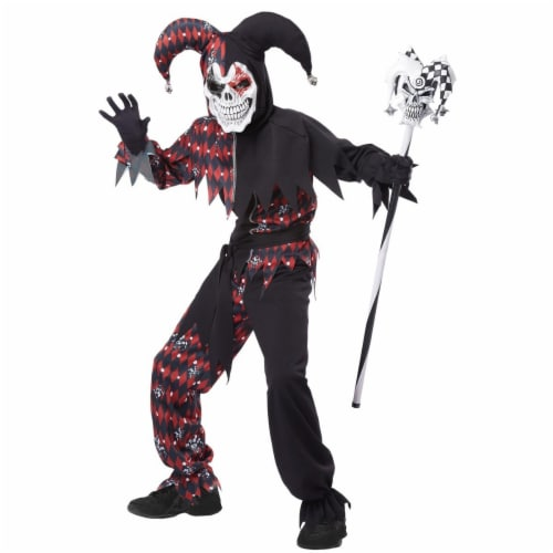 California Costumes 219136 Sinister Jester Child Costume, Black & Red - Large Perspective: front