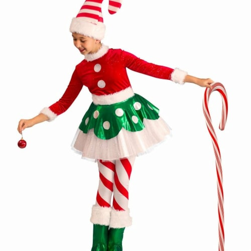Princess Paradise 275083 Christmas Girls Candy Cane Elf Princess Costume - Small Perspective: front