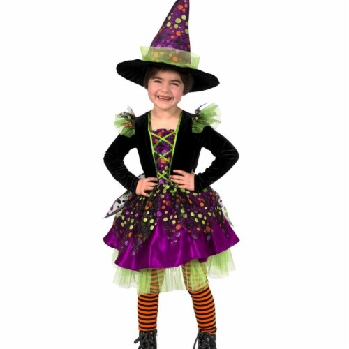 Prin5500 280669 Girls Dotty the Witch Costume, Medium 8 Perspective: front