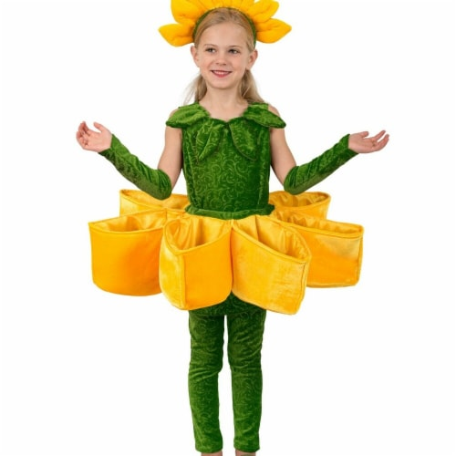 Princess Paradise 277976 Halloween Girls Sunflower Petal Pocket Costume - Medium Perspective: front