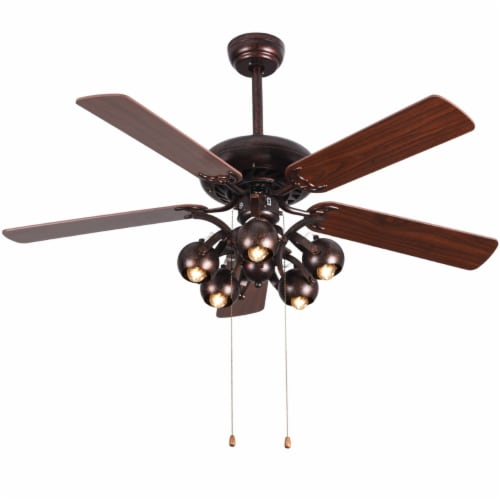 Costway 52 in Vintage Rustic Ceiling Fan Light with 5 Reversible Blades Pull Chain Home Perspective: front