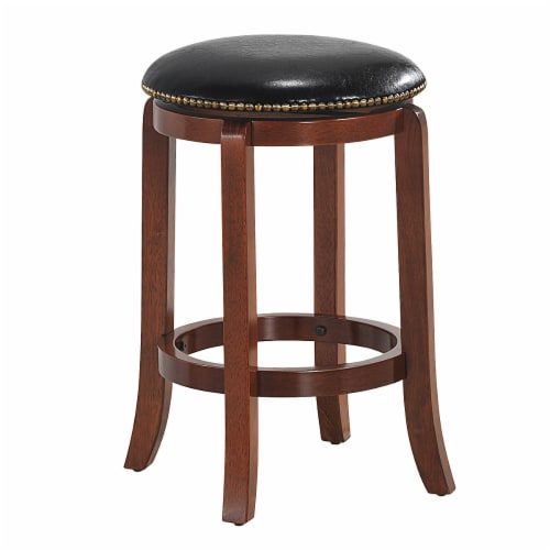 Costway 24'' Swivel Bar stool Leather Padded Dining Kitchen Pub Bistro Chair Backless Perspective: front