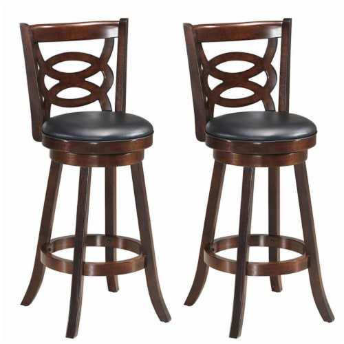 Costway Set of 2 Bar Stools 29'' Height Wooden Swivel Backed Dining Chair Home Kitchen Perspective: front