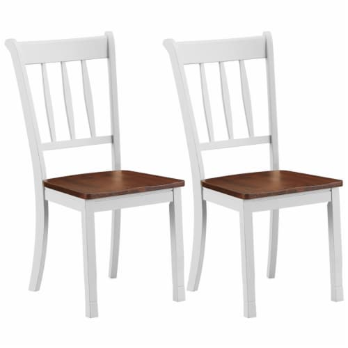 Costway Set of 2 Wood Dining Chair High Back Kitchen Whitesburg Side Chair BlackWhite Perspective: front