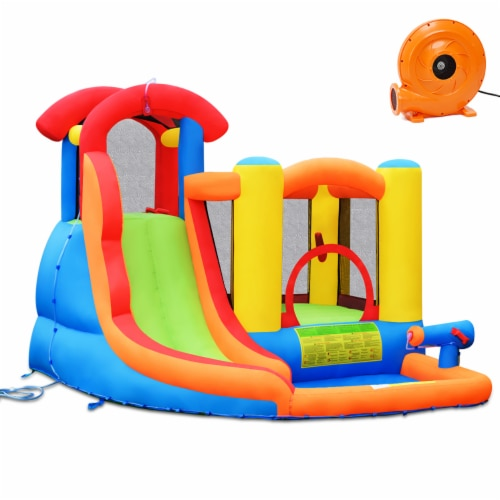 Costway Inflatable Bounce House Kid Water Splash Pool Slide Jumping Castle w/740W Blower Perspective: front