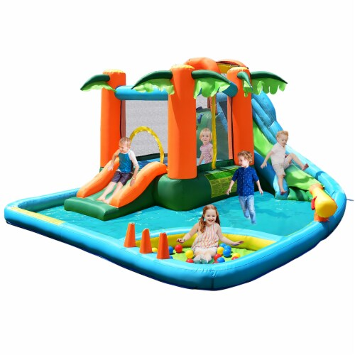 Costway Inflatable Bounce House Kids Water Splash Pool Dual Slide Jumping Castle w/ Bag Perspective: front