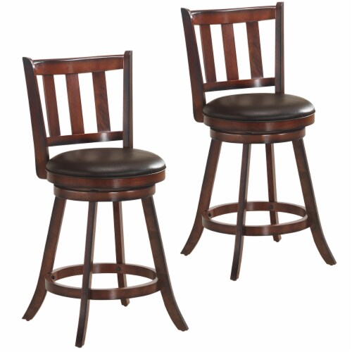 Costway Set of 2 25'' Swivel Bar stool Leather Padded Dining Kitchen Pub Bistro Chair High Perspective: front