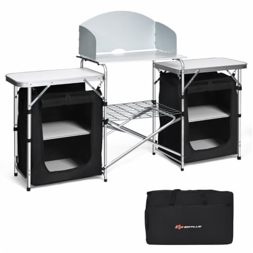 Goplus Folding Portable Aluminum Camping Grill Table w/ Storage Organizer Windscreen Perspective: front