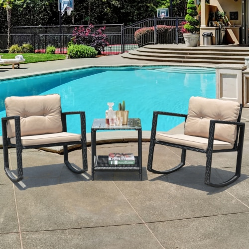 Costway 3PC Patio Rattan Conversation Set Rocking Chair Cushioned Sofa Garden Furniture Perspective: front