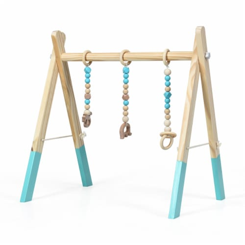 Foldable Wooden Baby Gym with 3 Wooden Baby Teething Toys Hanging Bar Green Perspective: front