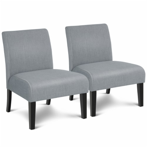 Costway Set of 2 Armless Accent Chair Leisure Chair Single Sofa Fabric Upholstered Gray Perspective: front