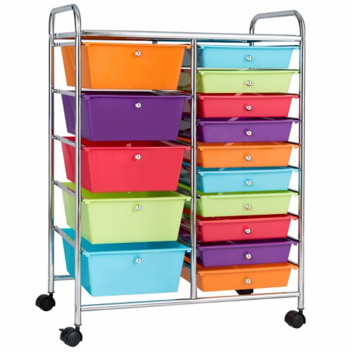 Costway 15 Drawer Rolling Storage Cart Storage Rolling Carts Drawers Perspective: front