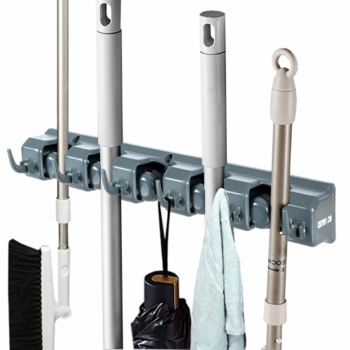 Costway Mop Broom Holder Garden Tool Rack Organizer 5 Positions w/6 Hooks Wall Mounted Perspective: front