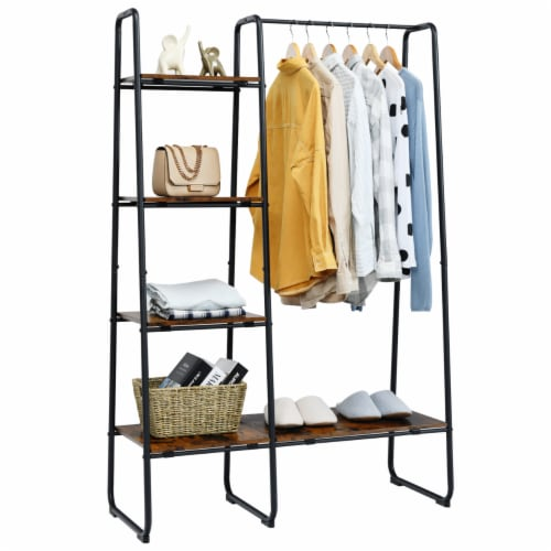 Costway Metal Garment Rack Free Standing Closet Organizer w/5 Shelves Hanging Bar Black Perspective: front