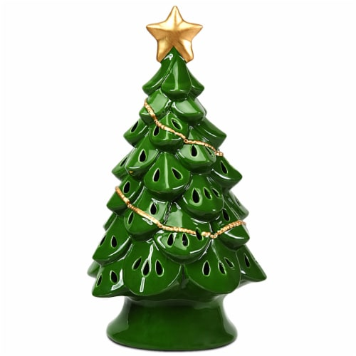 Costway 11.5''Pre-Lit Ceramic Christmas Tree Tabletop Lights Green Perspective: front
