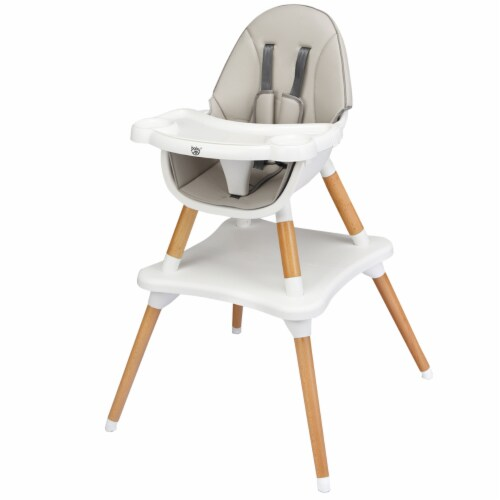 Babyjoy 4-in-1 Baby High Chair Infant Wooden Convertible Chair w/5-Point Seat Belt GrayKhaki Perspective: front