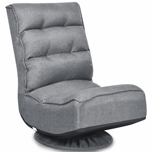Costway Gaming Chair Fabric 5-Position Folding Lazy Sofa 360 Degree Swivel Grey Perspective: front