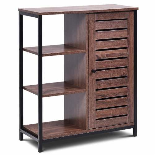Costway Industrial Bathroom Storage Cabinet Free Standing Cabinet W/3 Shelves Perspective: front
