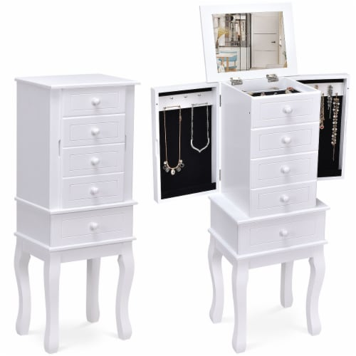 Costway Stand Organizer Jewelry Cabinet Armoire Storage Chest Wood White Perspective: front