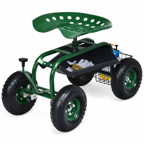 Costway Garden Cart Rolling Work Seat w/ Tool Tray Basket Green Perspective: front