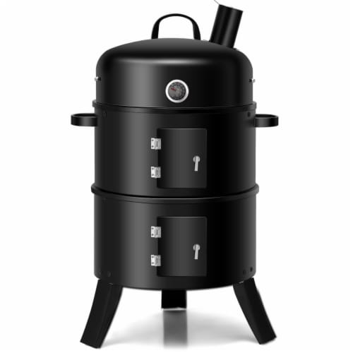 Costway 3-in-1 Portable Round Charcoal Smoker Vertical BBQ Grill Built-in Thermometer Perspective: front