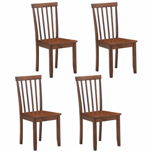 Costway Set of 4 Dining Chair Kitchen Spindle Back Side Chair with Solid Wooden Legs Perspective: front