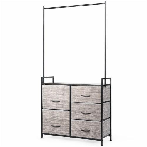 Costway 5 Drawer Fabric Dresser Hanger Metal Frame Wooden Top Storage Closet Organizer Perspective: front