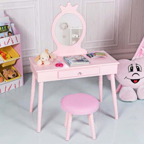 Gymax Kids Vanity Makeup Table & Chair Set Make Up Stool Play Set for Children Pink Perspective: front