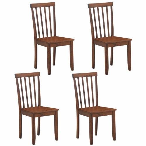Costway 4 PCS Dining Chair Kitchen Spindle Back Side Chair with Solid Wooden Leg Perspective: front