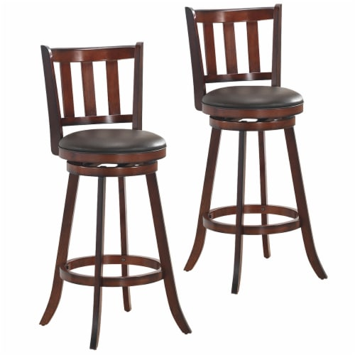 Costway Set of 2 29.5'' Swivel Bar stool Leather Padded Dining Kitchen Pub Bistro Chair High Perspective: front