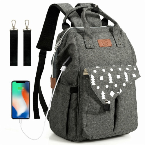 Gymax Diaper Bag Waterproof Baby Nappy Backpack w/USB Charging Port Perspective: front