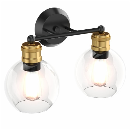 Costway 2 light Vanity Bathroom Light with 7 in Round Clear Glass Shade Vintage Wall Sconce Perspective: front