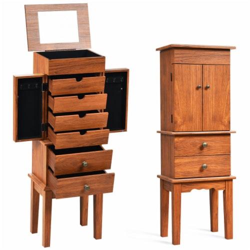 Costway Vintage Jewelry Cabinet Chest Storage Organizer Drawers&Mirror Perspective: front