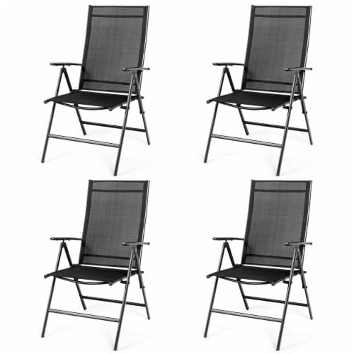 Costway 4PCS Patio Folding Dining Chair Recliner Adjustable Black Perspective: front