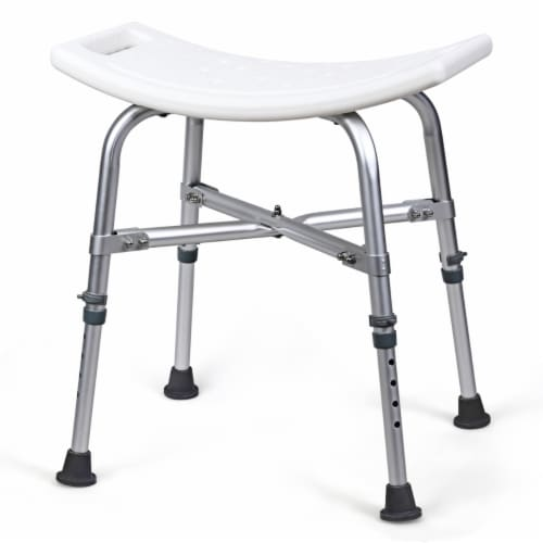 Costway Shower Chair Bath Stool 6 Adjustable Height Bathtub Seat Transfer Bench Non-Slip Perspective: front