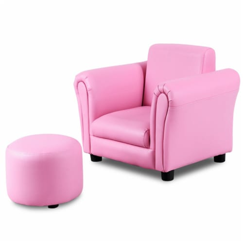 Costway Pink Kids Sofa Armrest Chair Couch Children Toddler Birthday Gift w/ Ottoman Perspective: front