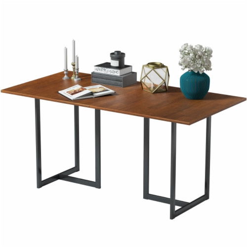 Costway 63'' Console Dining Table Rectangular Kitchen Table w/ Metal Frame and Wood Top Perspective: front